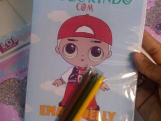 20 kits de livro para colorir+ 3 giz de cera