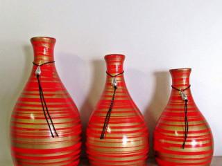 Trio de Vasos (Vermelho e dourado)