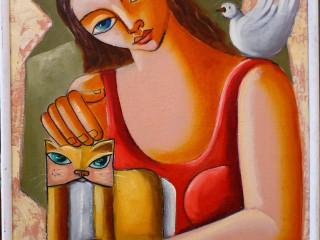 NANDO RIBEIRO, Menina com Gato, o.s.t., 40 x 30cm, assinado e datado 2