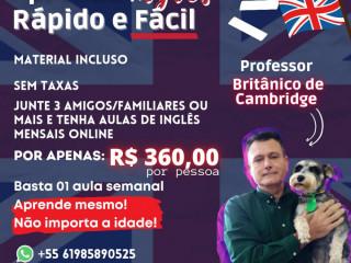 INGLÊS ONLINE EM 65 AULAS  C/PROFESSOR NATIVO (UK)