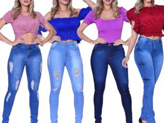 Calça Jeans Feminina Skinny Cós Alto Levanta Bumbum