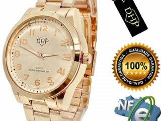 Relógio Feminino + Caixa Prova D'água Dourado Com Nota Fiscal